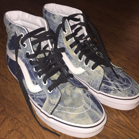 13ee85d769 Denim acid wash sk8 hi vans in perfect condition. NEVER WORN - Depop