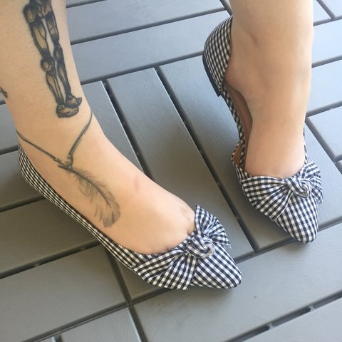 35d792bc560d Cute black & White checkered bow tie flats! Only worn once, - Depop