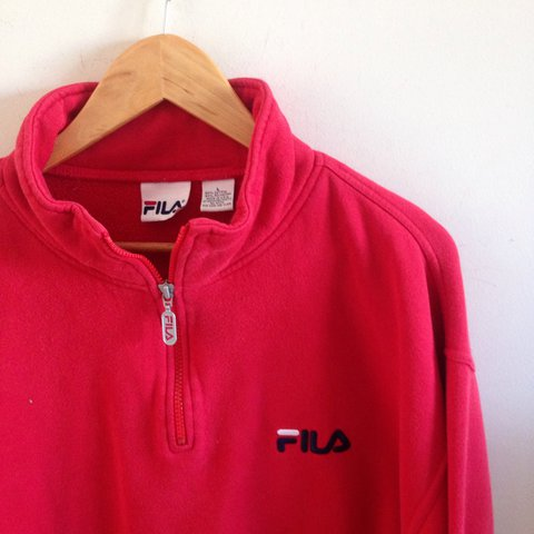 4bf5aa9ca28a @ohsincity. last year. North Carolina, USA. vintage red FILA quarter zip up  jacket ...
