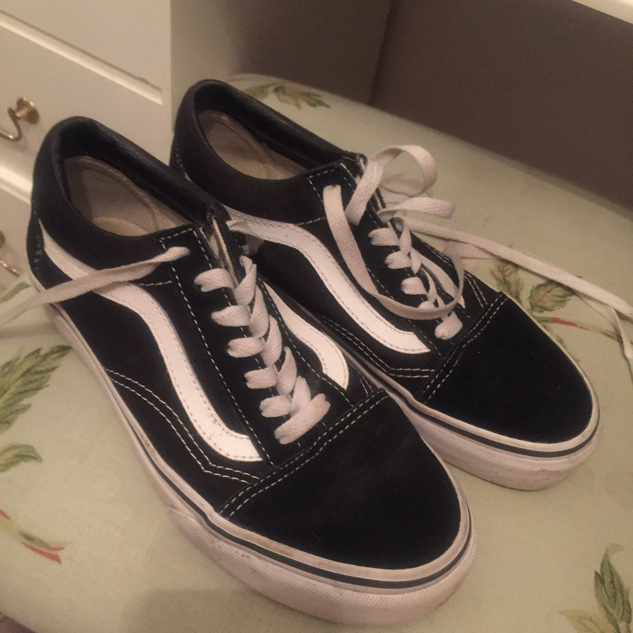 Old school vans size 4.5. Would also fit a size 4. Worn a in - Depop 7edfe12bb