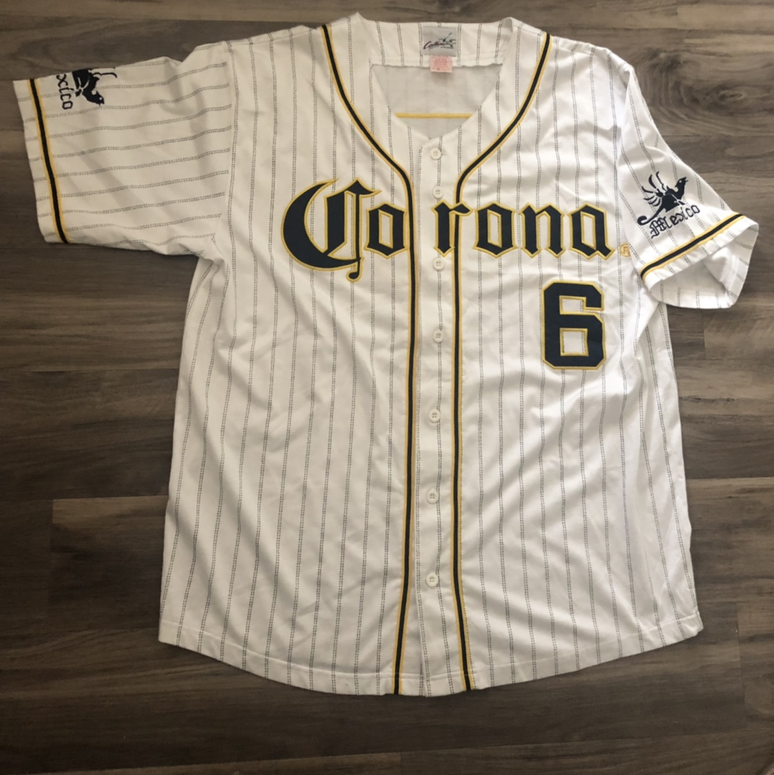 official photos ea7d2 5a334 Vintage corona beer jersey. Mexico embroidery on... - Depop