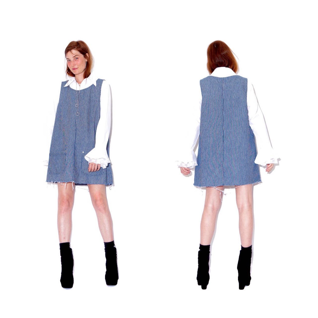 b16e0ffd535 omg TRAIN STRIPES 90s Denim Overall Dress   pinafore dress   - Depop