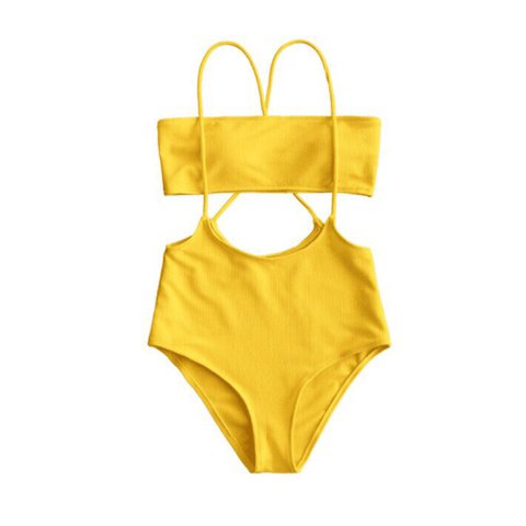 d6ef98a4a2532 LAST ONE LEFT!!! size small color  yellow BIKINI OVERALLS - Depop