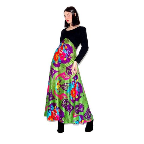55e98eb83c vintage 60s 70s MAXI DRESS skirt floral print psychedelic IN - Depop