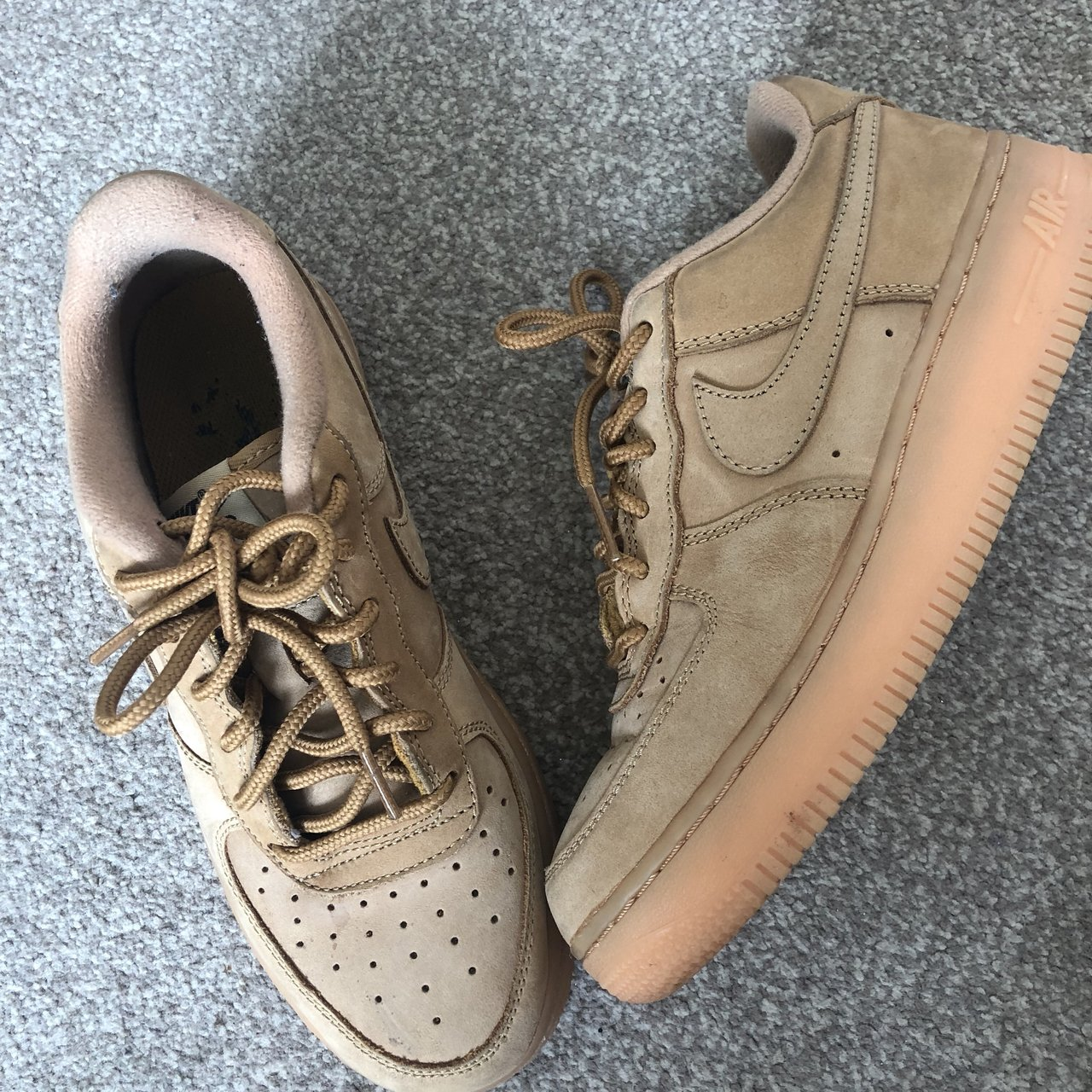cc40ab21f4b6 Nike Air Force One flax size UK4! Only been worn 3 times so - Depop