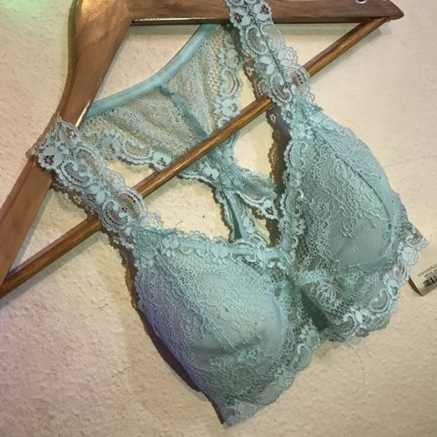 12a68bac8d Brand new with tags turquoise blue lace bralet from Topshop - Depop