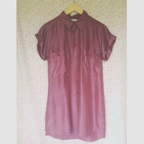 4142cf40 Blue Rinse Purple silk shirt. Could be worn as a dress or in - Depop