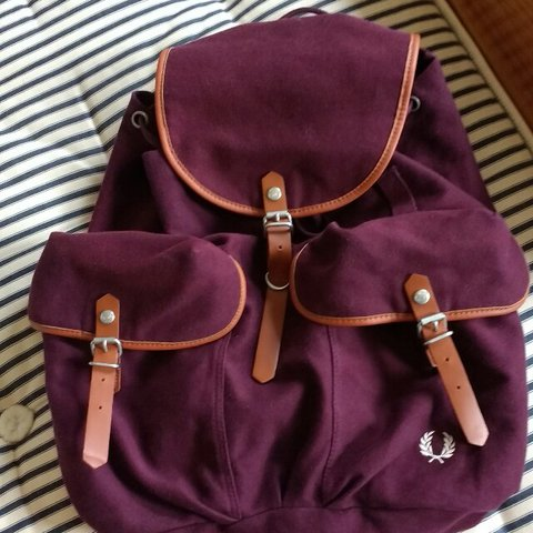 013fc33436b Reduced!!!!!! £25!!!! Fred Perry backpack. Burgundy canvas. - Depop