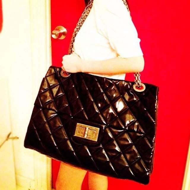 08c59c3d6ed7 @lizzybetsy. 5 years ago. Cebu City, Philippines. Authentic Chanel XXL flap  in vinyl leather. Chain made out ...