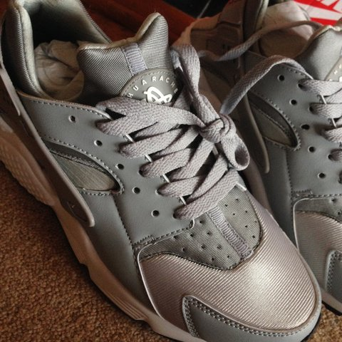 7227397fa045a SOLD OUT wolf grey women s Nike air huarache size 5.5 for 5 - Depop
