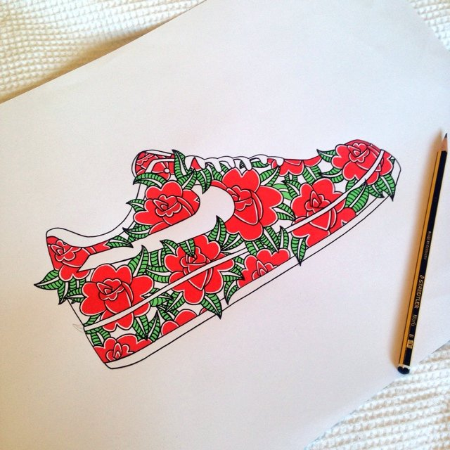 Hand Drawn Nike Air Force 1, Complete With Roses. This Is To   Depop