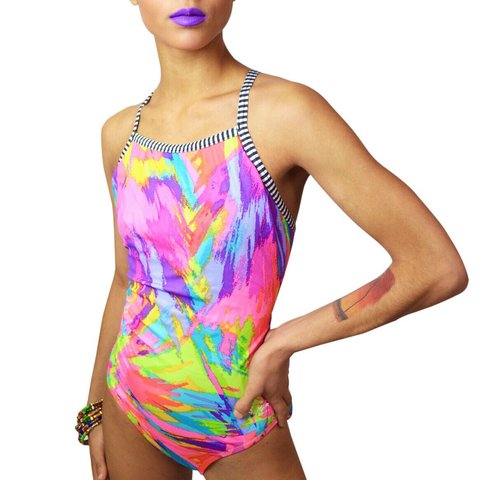 3b39bd4d247 @threadedvibes. 4 months ago. Sacramento, United States. Vintage Dolfin one  piece racerback one-piece swimsuit.