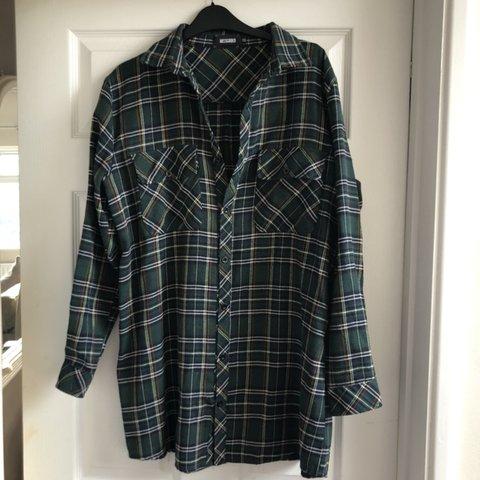 d003ec0ab64 Missguided green chequered shirt dress. Size 12