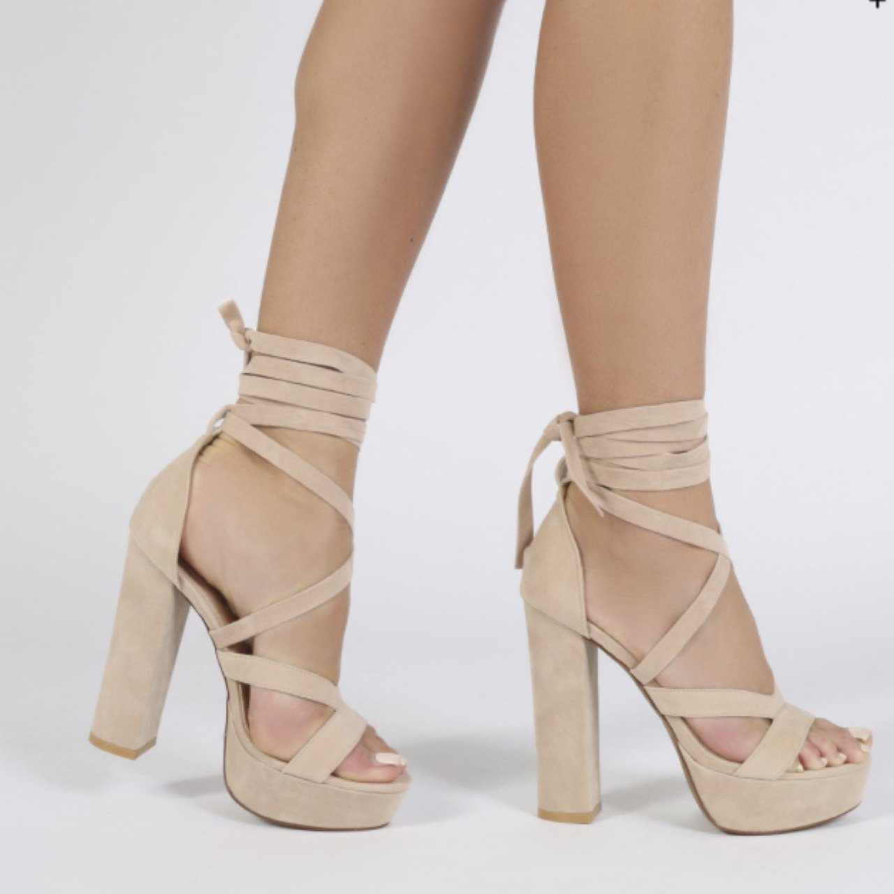 Public Desire Stella Lace Up Heels in Faux Suede