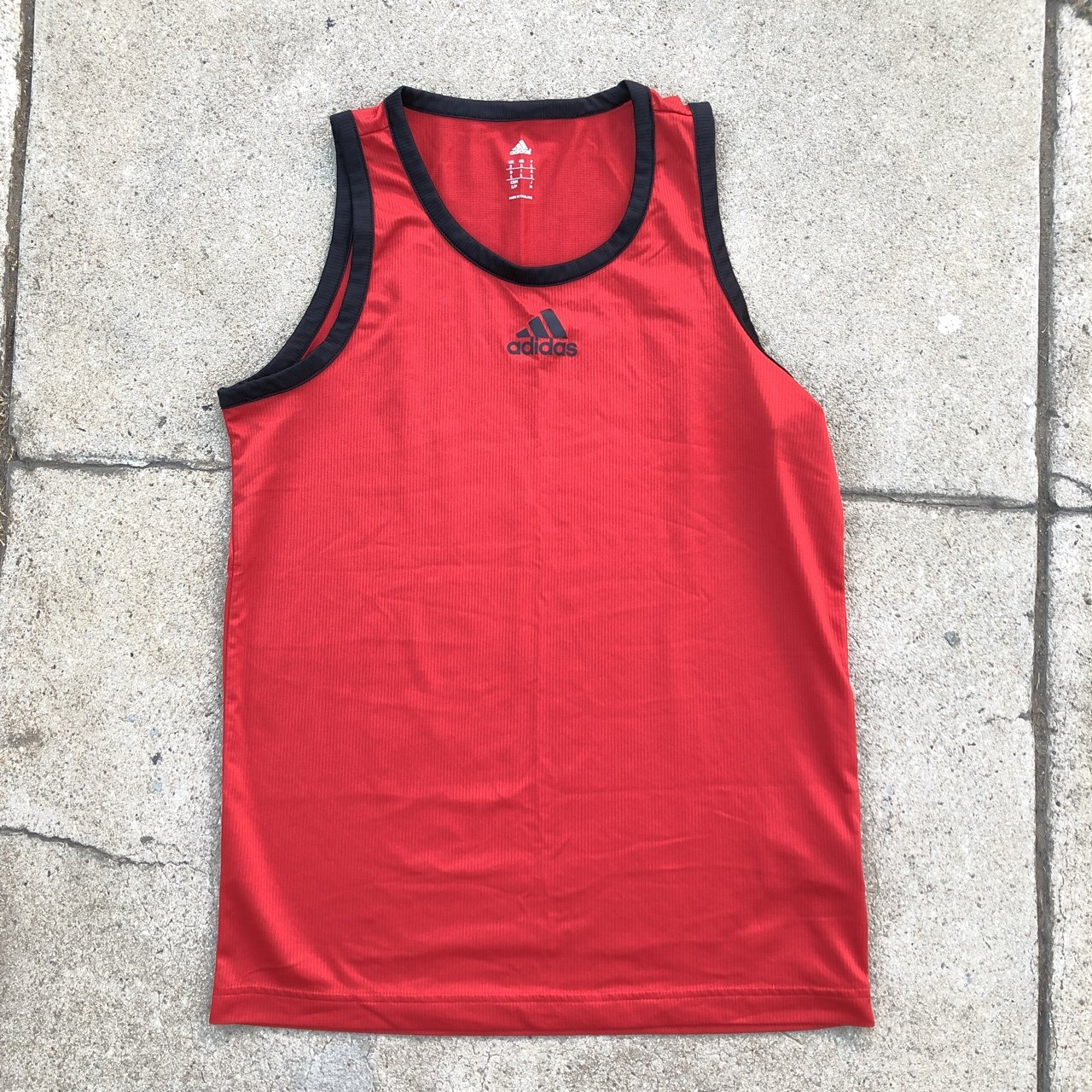 d71674f17f06f Red n black adidas tank top. Pair wit some black dickies in) - Depop