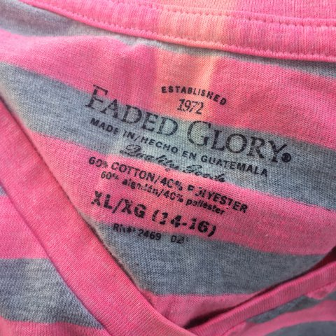 a37add1ac42 Striped Faded Glory t-shirt in good condition other than a I - Depop