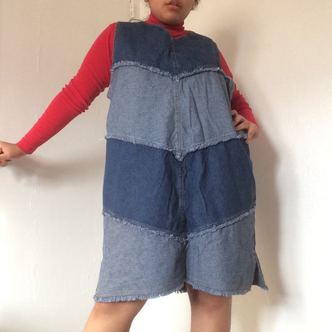 Vintage PLUS SIZE multi-wash denim pinafore dress with Cool - Depop
