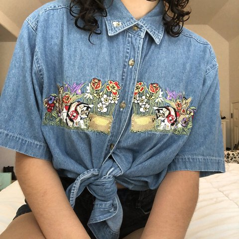ff622723b2 vintage embroidered denim button up shirt 🐱👕 has cute of a - Depop