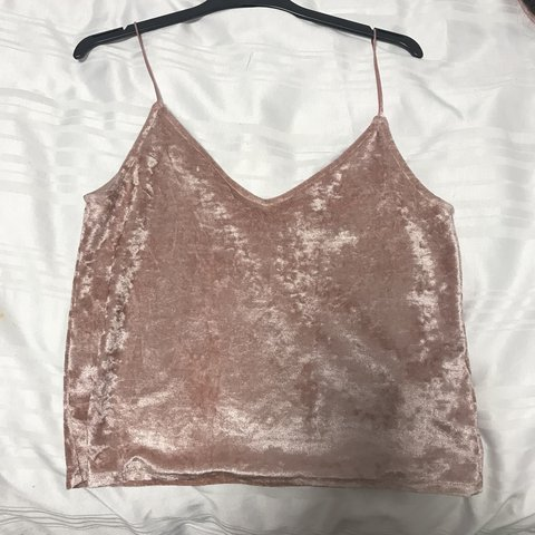 4cb1fc6e7fb1a3 H M pink crushed velvet strappy top. Never worn