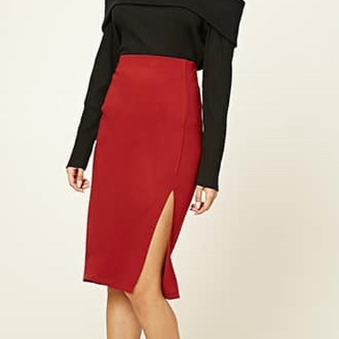 0c37e58f928e @laaurenxbrooks. 8 months ago. Peterborough, United Kingdom. Forever21  burgundy pencil skirt with slit/ ...