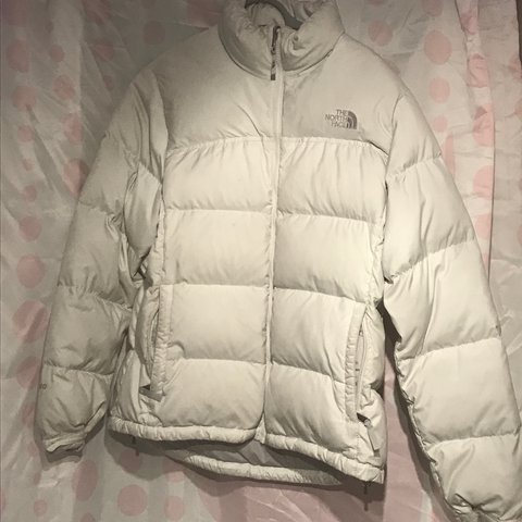 87f1e6a03d Rare white north face with grey logo women s large will fit - Depop