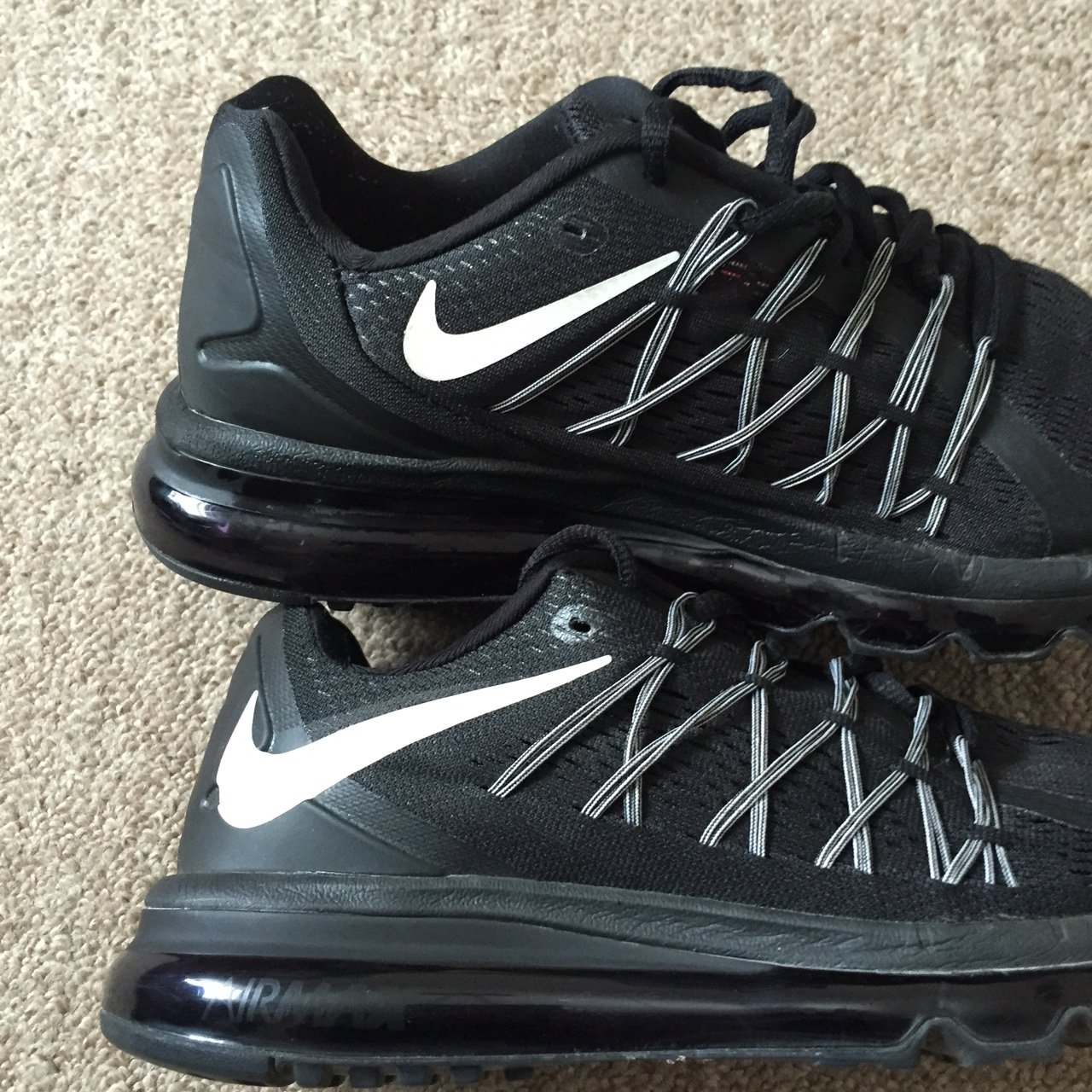 NIKE AIR MAX 2015 BLACK WHITE 698902-001 RUNNING WORKOUT for - Depop 180858791