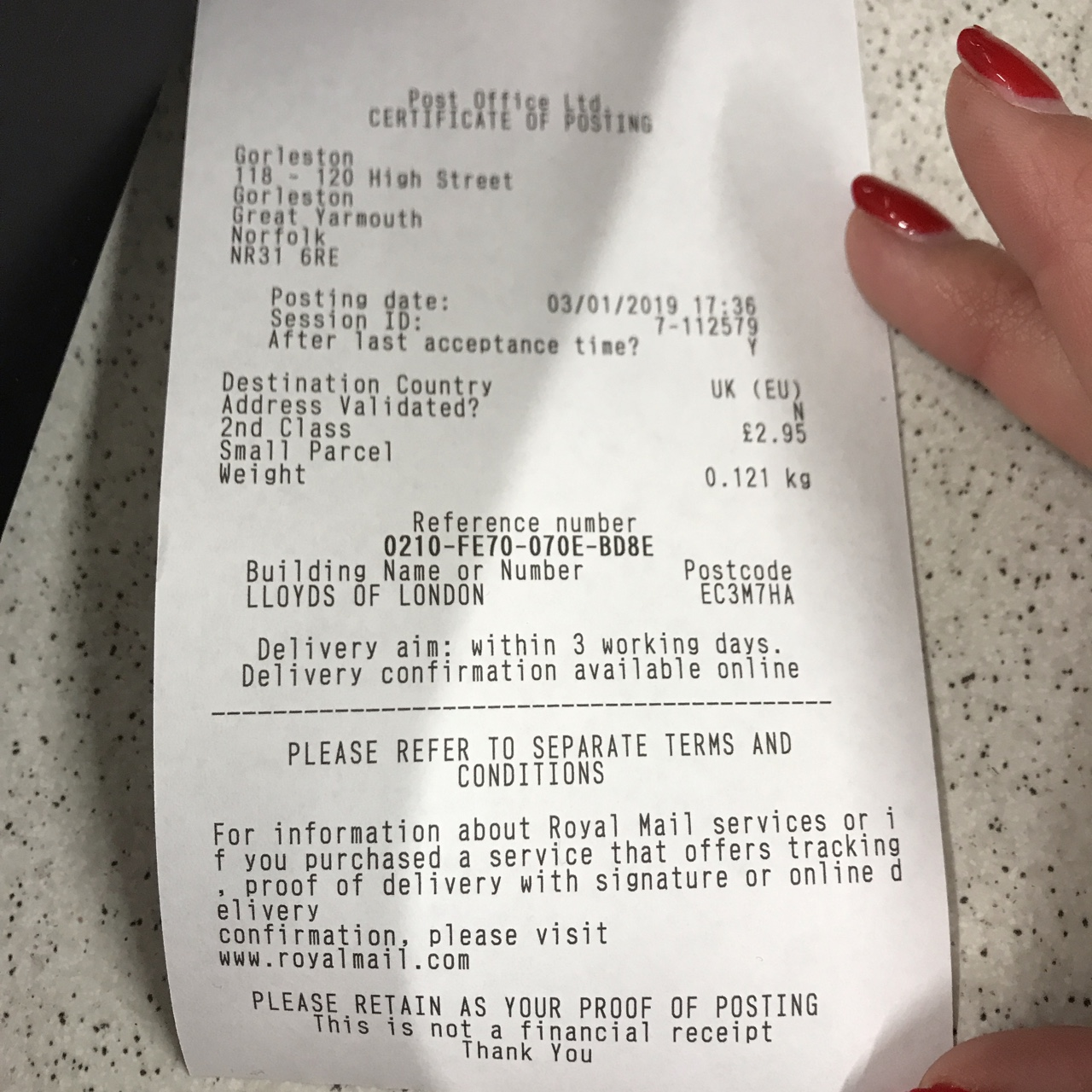 Receipt proof of purchase