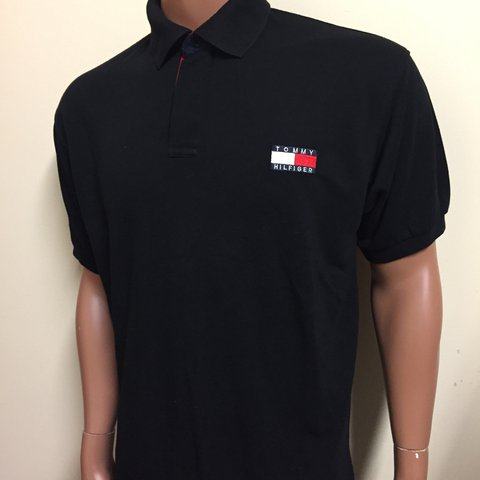 f0d29cef @bellamodavintage. 2 years ago. Derby, UK. Vintage 90's Black Tommy  Hilfiger polo shirt. Oversized style. Size XXL But you can see the fit ...