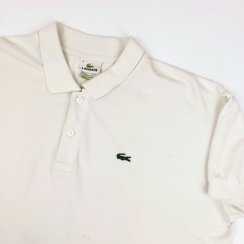 896abe521 Vintage Men s White Lacoste Polo Shirt. 8 10 Condition as to - Depop