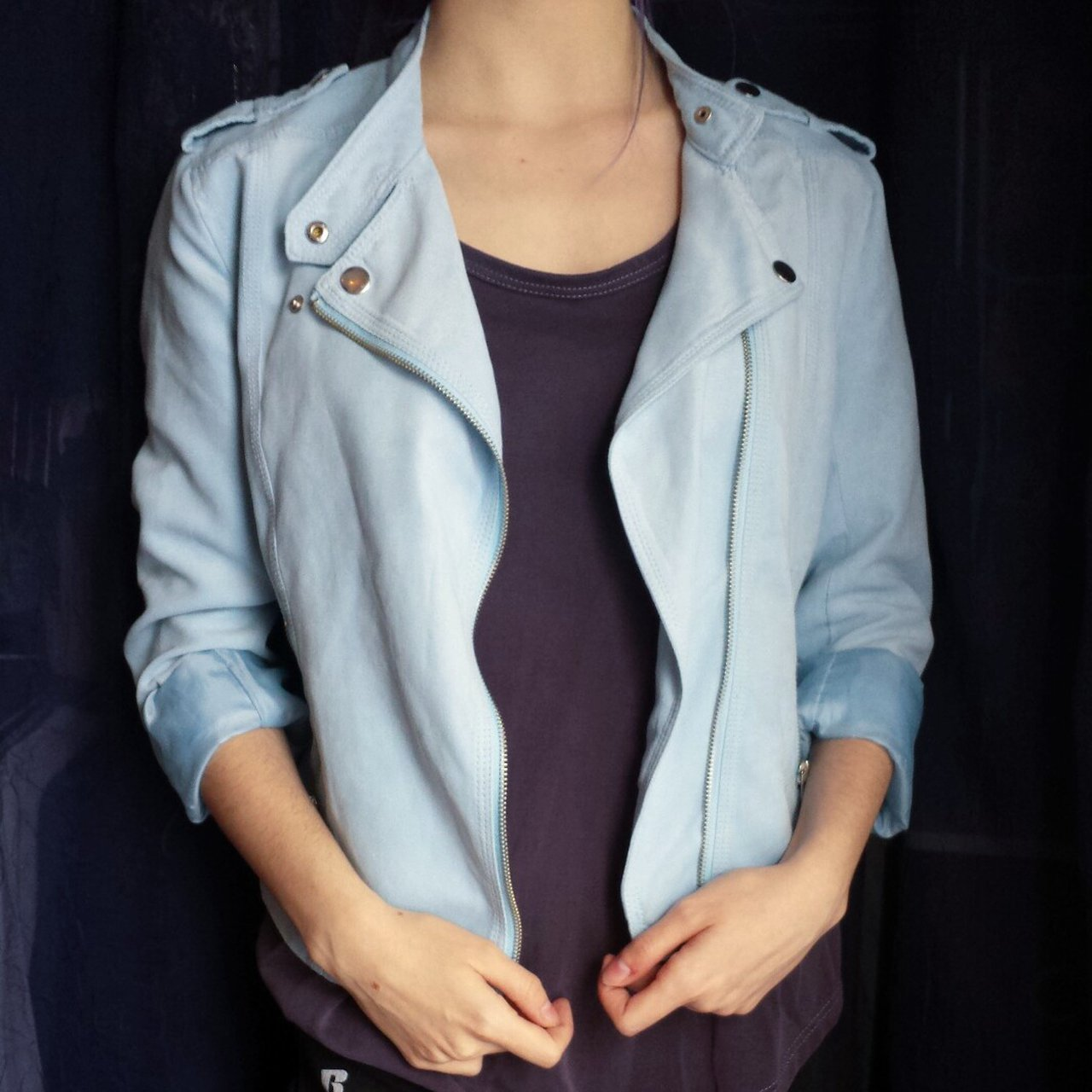 2f8b74ca9 amazing baby blue moto jacket!! this gorgeous jacket is a a - Depop