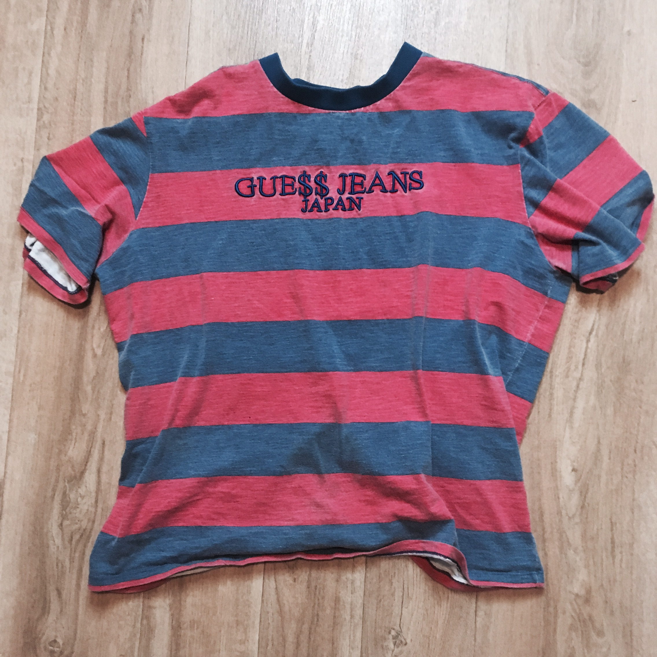GUESS JEANS X A$AP ROCKY JAPAN T Shirt Red and blue Depop
