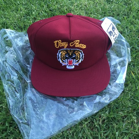 6869a1d947d OBEY POSSE SNAPBACK. Brand new wine tiger hat from obey with - Depop