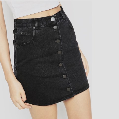 b3833312a @jessicariane. last month. Los Angeles, United States. ASOS washed black  denim high-waisted skirt ...