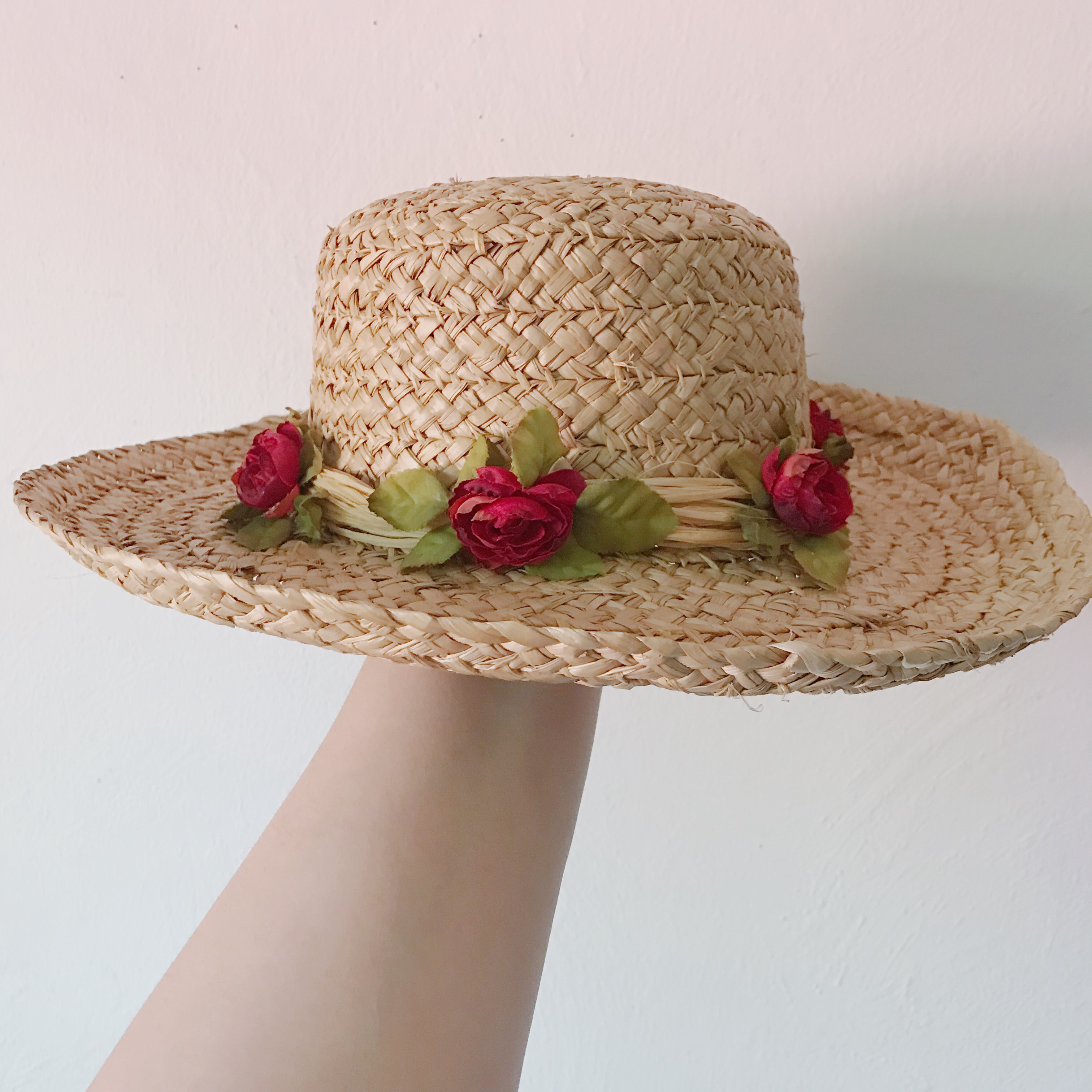 d1e9e2a88 40% off❣️ vintage wide brim straw hat with roses all... - Depop