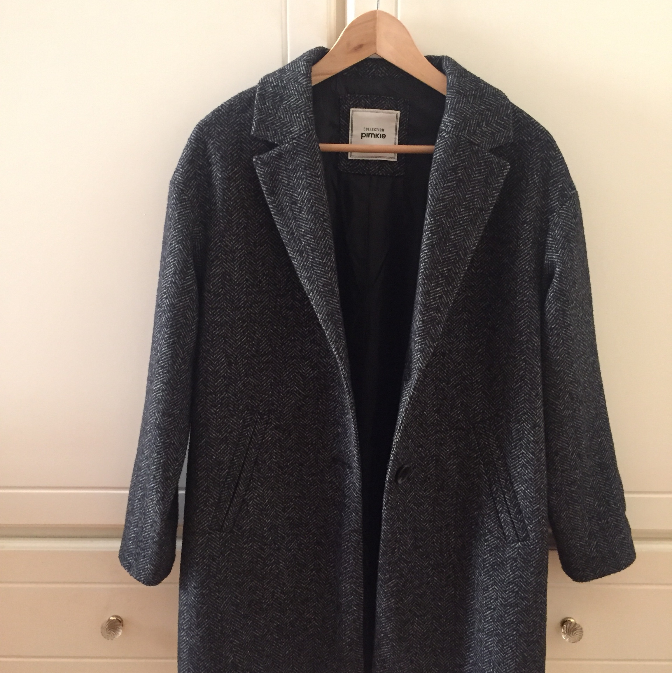 cheap for discount fb75d eff54 Giacca / cappotto Pimkie spigato herringbone coat.... - Depop