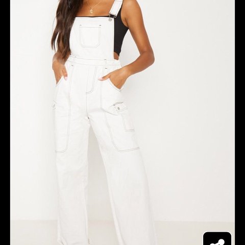 8e90c0687dbd White denim jumpsuit with flared legs would wear a cropped a - Depop