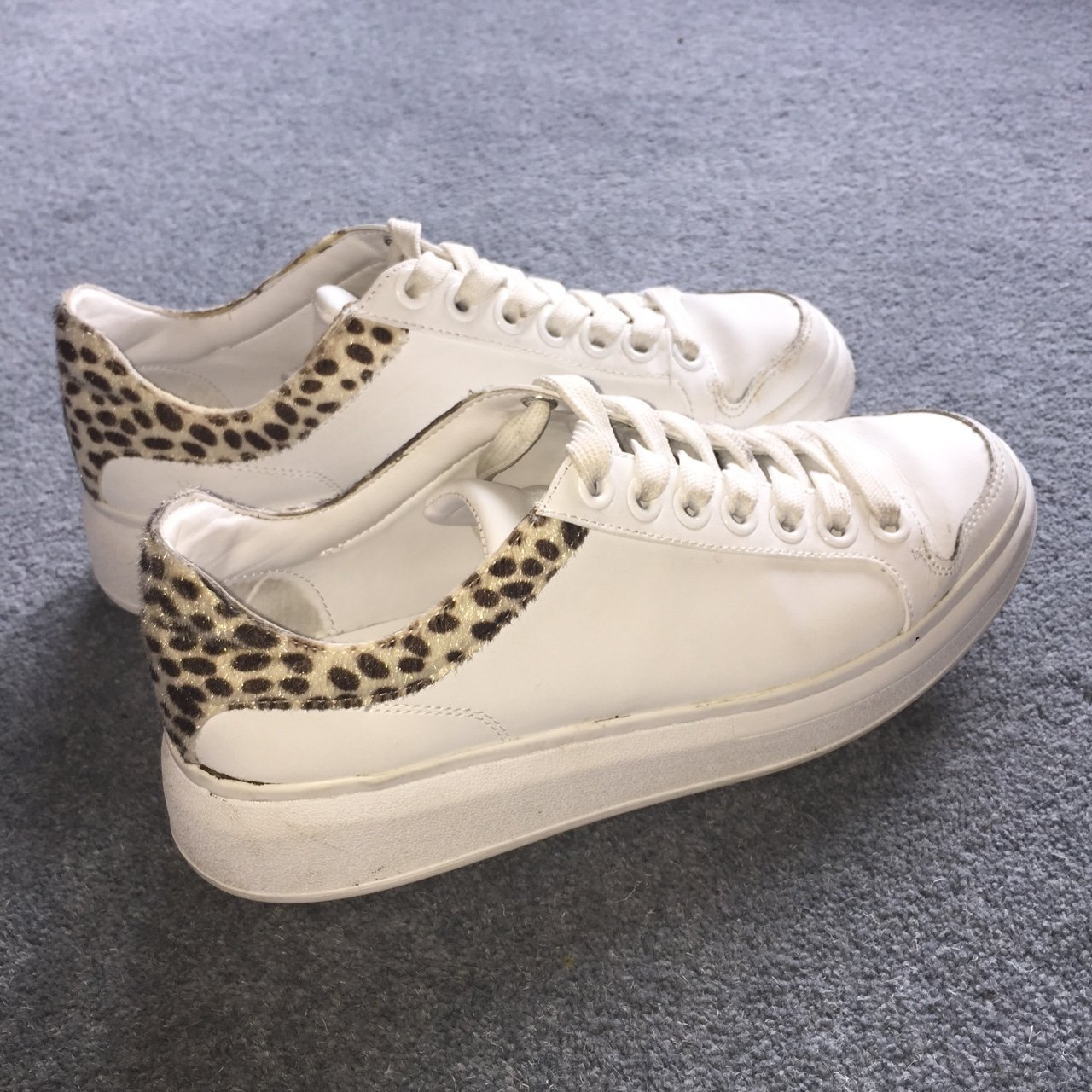 e1c5175437e8 ZARA white platform sneakers with Leopard print. Size 5. for - Depop