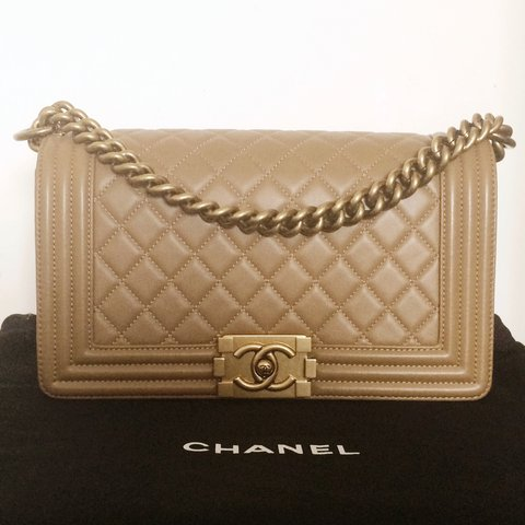 db345d7d1438 Chanel Le Boy bag in old medium size. Dark beige, lambskin I - Depop