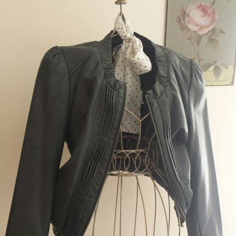 c3da24f182 Miss Selfidge vintage black faux leather bomber jacket. With - Depop