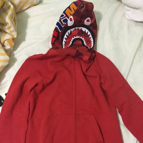 XS Red Bape Shark Hoodie Comes With Original Receipt