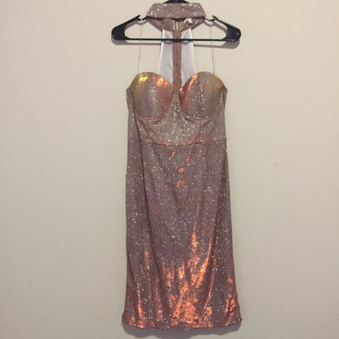 86a21b618af Charlotte Russe rose gold holographic glitter tube top dress - Depop