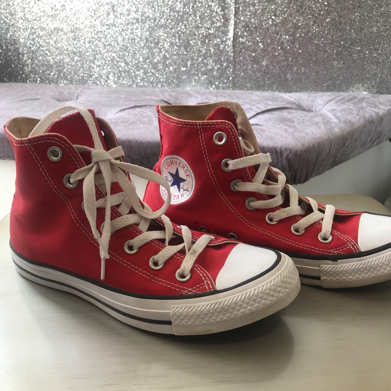 Red Converse all star Chuck Taylor's worm about 3 Depop