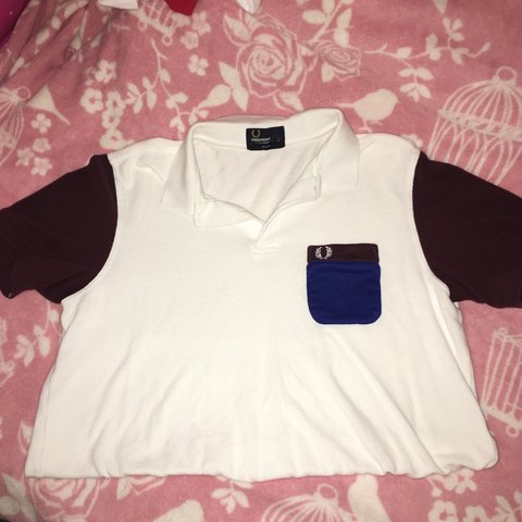 0d6142f6d ✨REDUCED✨White Fred Perry polo shirt with maroon/burgundy it - Depop