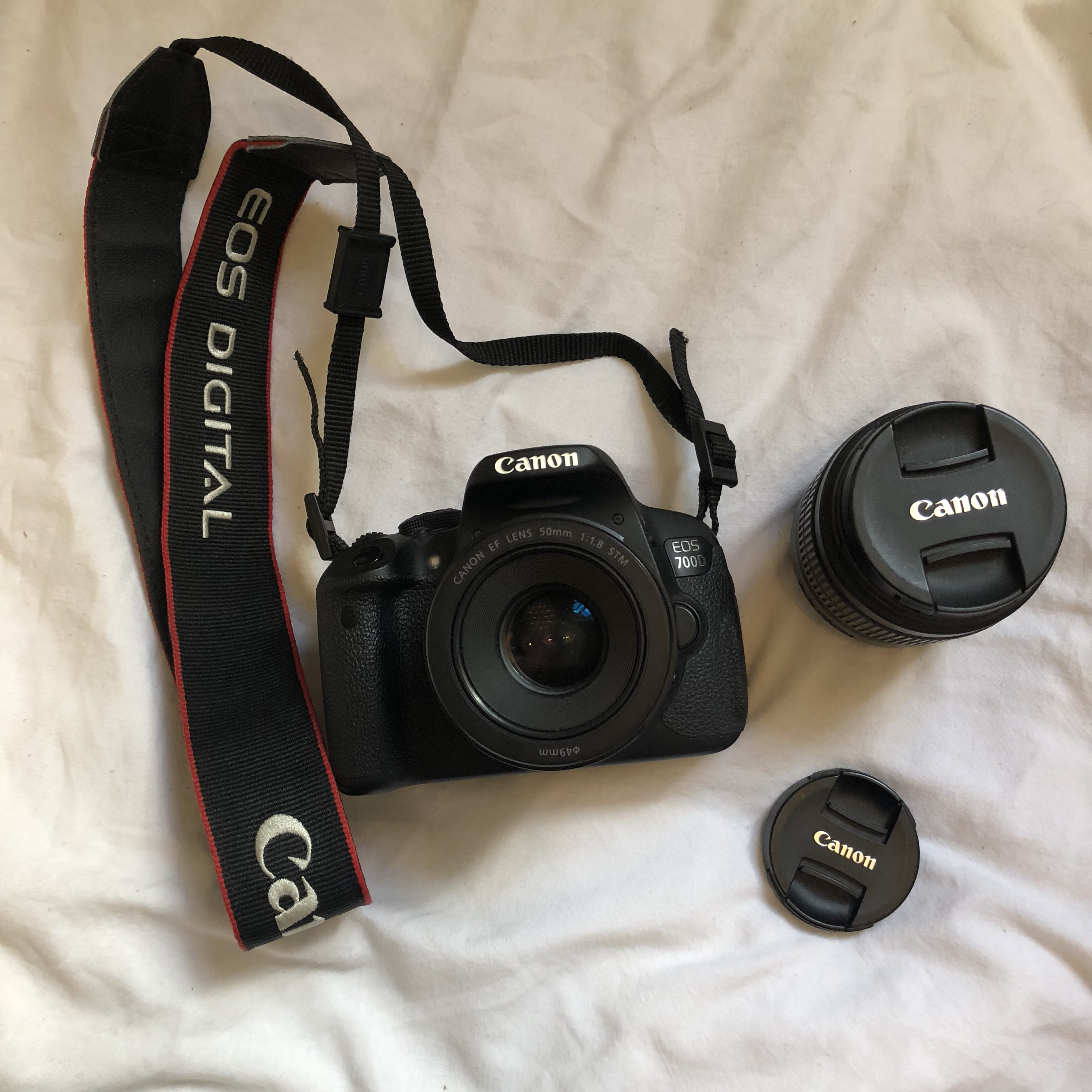 Canon EOS 700D with 18-55mm and 50mm 1 8 lenses  It