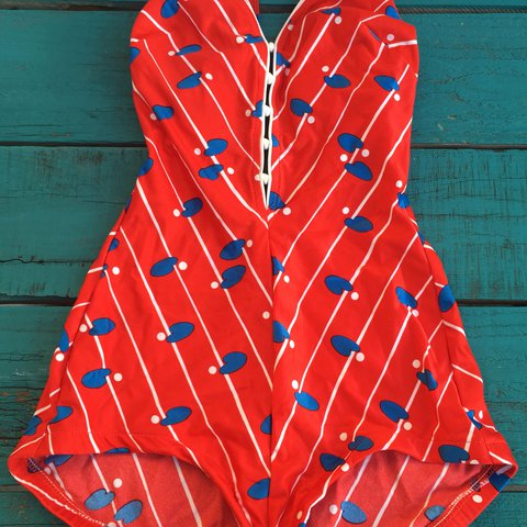 ebd9507bb76 @stephmg. last year. Torrance, United States. Vintage One-piece Swimsuit red  w/white stripes ...