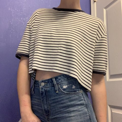 a19405a2b687ca Tommy Hilfiger black and white striped crop top women s size - Depop