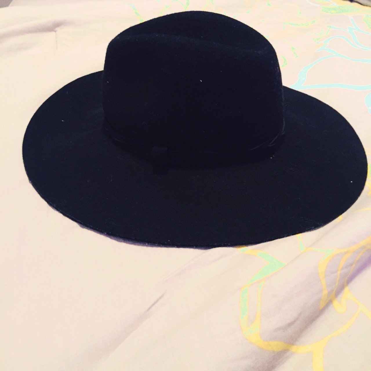 Black suede fedora hat from Forever21  f21  forever21 - Depop 99244c6292e