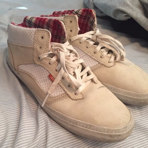 Vans Off The Wall half cab off-white and plad sneakers. For - Depop ebdf710e3
