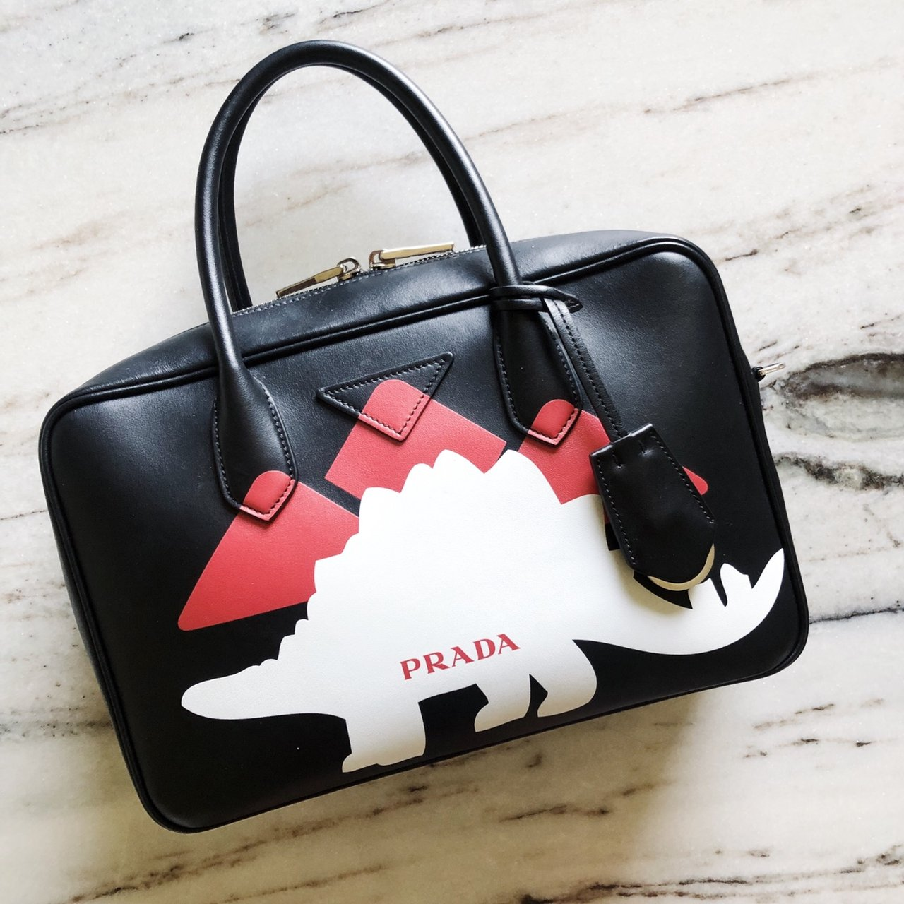 6ef5b62899cb @dkovaa. 10 days ago. Spokane, United States. Additional pictures. Prada  Mirage Small Dinosaur Dino Logo Print Leather Bag Mirage Top Handle ...