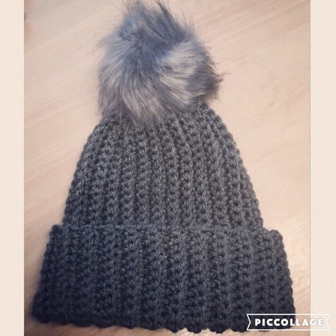 fdb7f19d1a442 Custom order. Handmade Ribbed Beanie Hat in a dark grey with - Depop